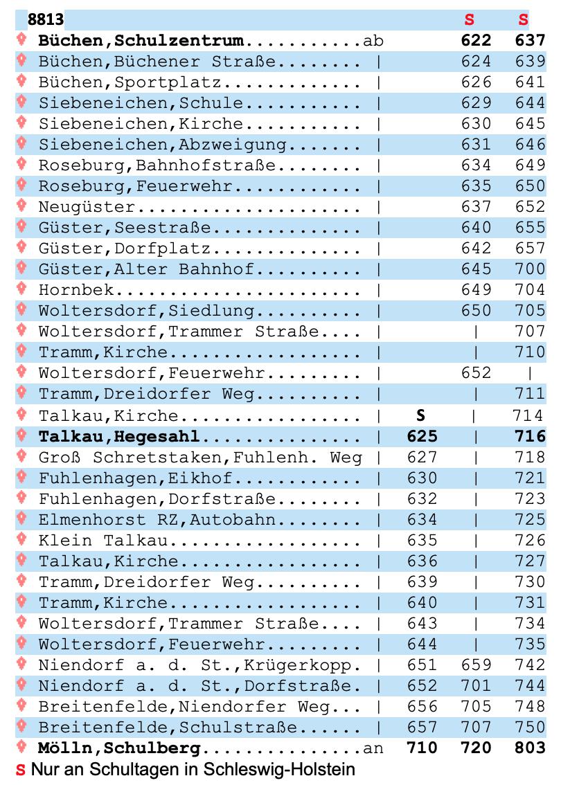 Fahrplan Linie 8813 bis Mölln Schulberg