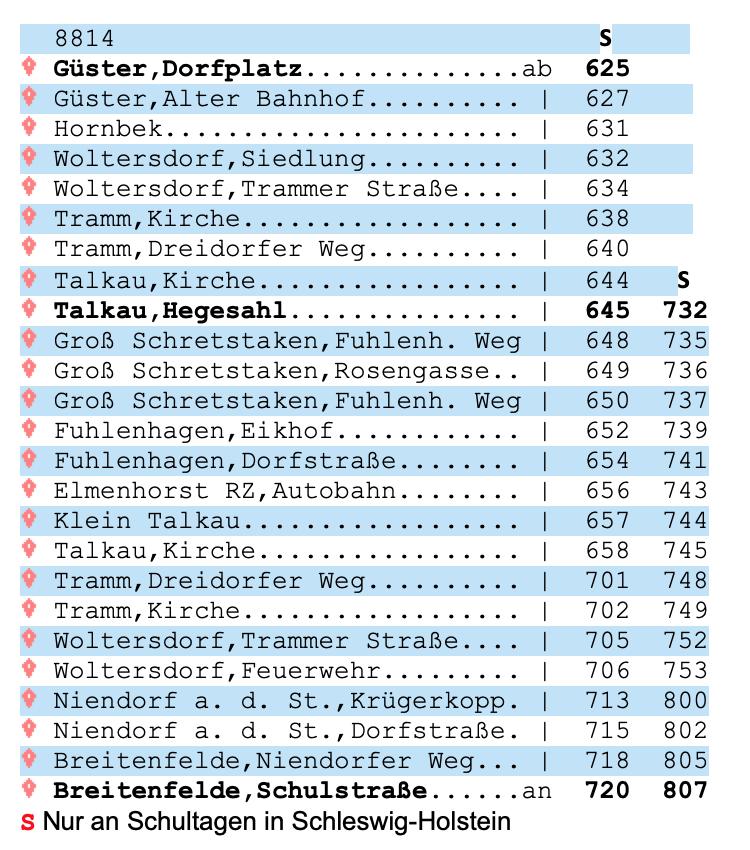 Fahrplan Linie 8814 bis Breitenfelde